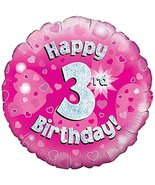 Oaktree 18 Inch Foil Balloon - Happy 3rd Birthday Pink Holographic - $6.50