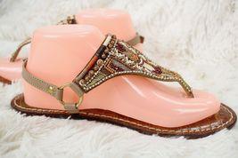 SAM EDELMAN Metallic Thong Brown Sandals Size Women's Beaded 8 Flip Buckle Flops HrHq1wg