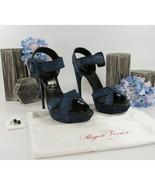 Roger Vivier Electric Blue Suede Lacey Whipstitch Platform Heels Size 40... - $489.56
