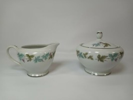 Vintage Fine China Japan 6701 Creamer & Sugar Bowl w Lid Grape Leaf Pattern - $18.99