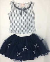 Biscotti Kate Mack Sz 3T White Blue 2Pc Top Skirt Sleeveless Polka Dot O... - $21.69
