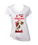 I Love Christmas Fox Terrier Santa - WHITE COTTON LADY TSHIRT - $19.53