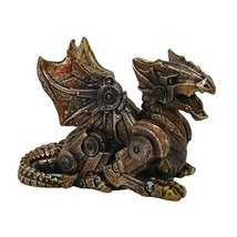 Small Steampunk Dragon Collectible Statue Made of Polyresin - $12.87