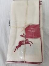New Pottery Barn Alpine Embroidered Deer Set of 4 Napkins Christmas Holiday - $37.95