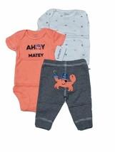 Carter 3 Piece Set for Boys Newborn or 3 Months Ahoy Little Matey Crab - $13.95