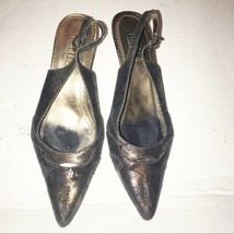 Tribeca Kenneth Cole brow brass floral satin low heels shoes size 6 - $22.65