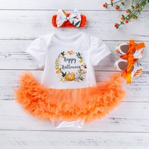 Toddler Baby Girls Halloween Pumpkin Tulle Romper Dress Shoes Hairband S... - $15.40