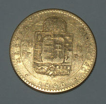 Hungary 1890 20 Francs 8 Forint Gold Coin KM# 467 - $340.00