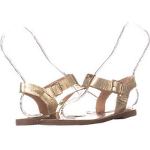 Steve Madden Skylar Ankle T Strap Flat Sandals 392, GoldLeather, 6 US - $32.63