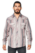 LW Men's Classic Checkered Striped Western Rodeo Pearl Snap Button Up Shirt image 3