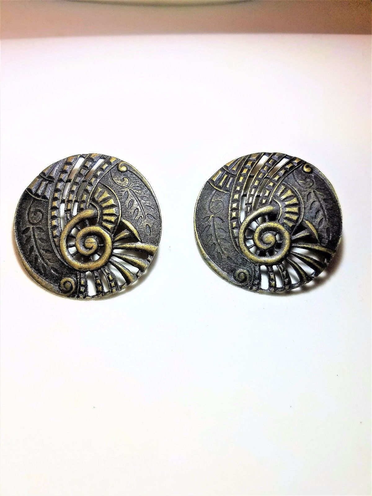 Abstract Large Round Brass Color Pierced Vintage Earrings
