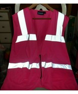 Girl Power at Work hot pink fitted vest with silver reflective stripes s... - $18.00