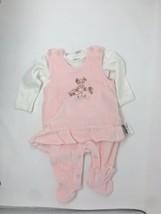 Kanz Baby Girls 2 Piece Set Romper Pink Ivory Size 3 Months Velour Foote... - $24.14