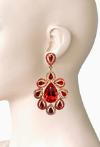 """3.75"""" Long Oversized Red Crystals Clip On Earrings Drag Queen Pageant, Bridal - $24.70"""