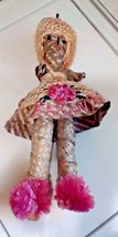 "BAHAMAS 15"" Cruise Collectible Handmade Pink Accents Straw Doll Rare Item - $29.70"