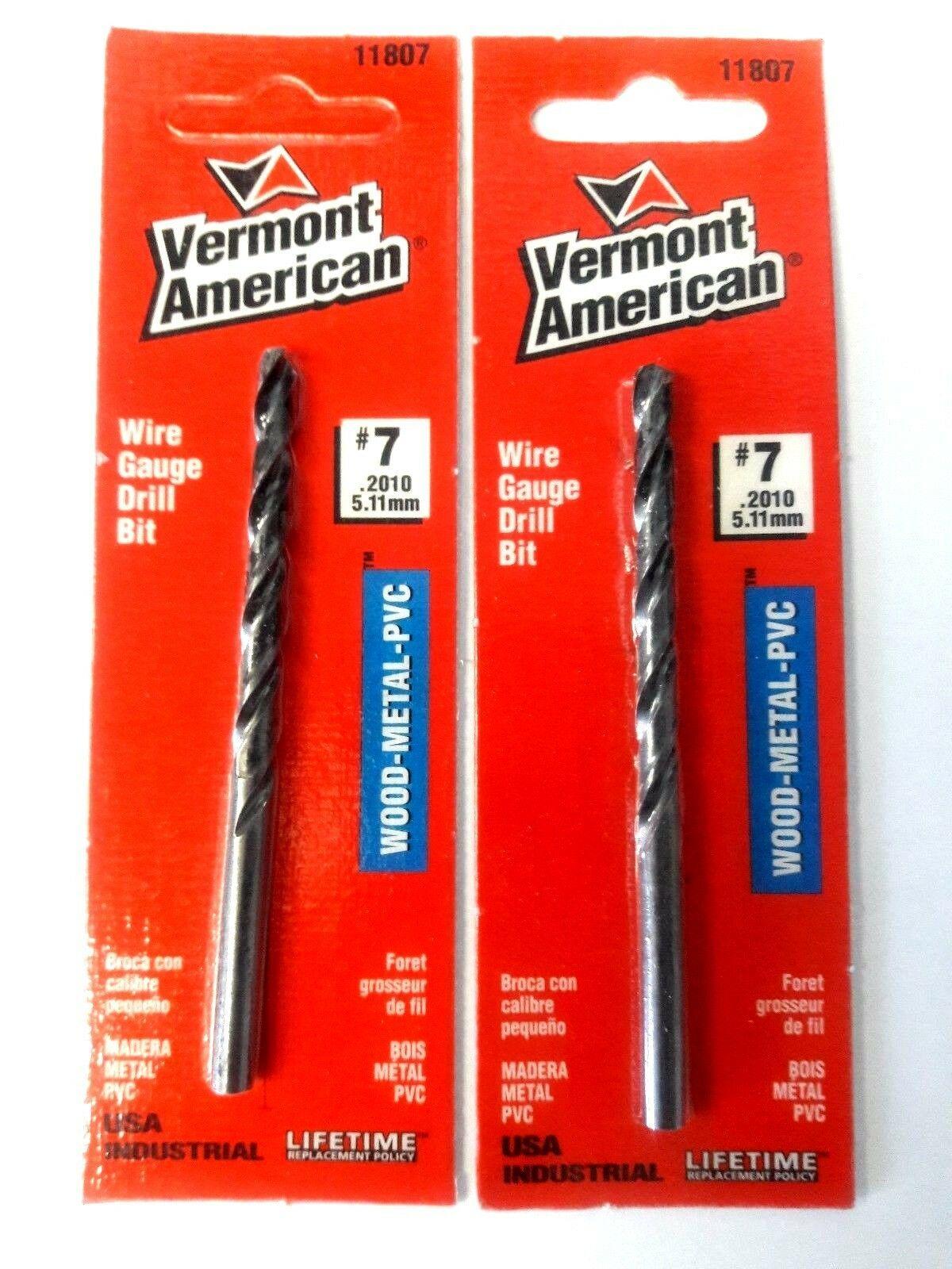 Vermont American 11807 #7 Wire Gauge Drill Bit USA 2PCS - $2.77