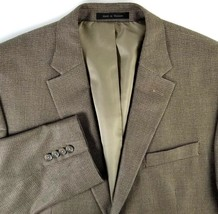 Chaps Sport or Suit Coat Two Button Mens Size 44 L  Brown Check Silk Woo... - $27.68