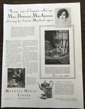 1929 Maxwell House Coffee PRINT AD Mrs. Douglas MacArthur Famous Maryland Supper - $11.69