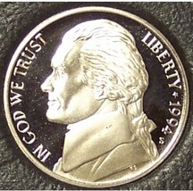 1994-S Deep Cameo Proof Jefferson Nickel #0889 - $2.89