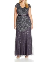 Adrianna Papell Womens Gunmetal Embellished Cap-sleeve Plus Size Gown  1... - $236.61