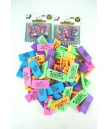 Large Lot of 72 Erasers w/ 2 Packs of Mini Size 100 Erasers - $20.54