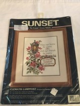 Sunset No Count Cross Stitch Kit 13937 Clematis Lamppost HTF - $34.60