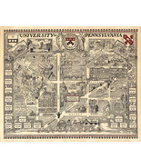 Pictorial Map University of Pennsylvania Campus Wall Poster Vintage U of... - $12.87+