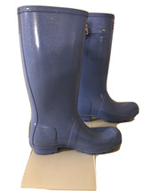 Women's Tall Light Blue Hunter Glitter Rain Boots US Sz 5 100% Authentic - $58.41
