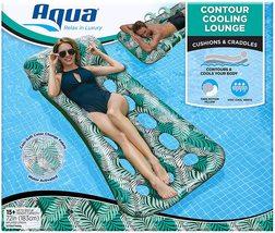Aqua 18-Pocket Inflatable Contour Lounge, Luxury Fabric, Suntanner Pool ... - $59.99