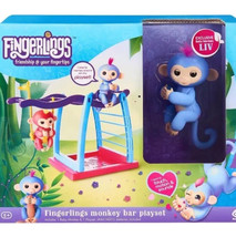 Blue Liv & Monkey Bar Playset - Fingerlings Pet Baby Monkey Real Fingerling - $24.99