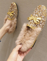 Sequin Gold Ladies Bridal Ballet Flats Shoe Slippers Outdoor Cotton-Padd... - £37.03 GBP