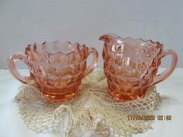 Cubist Pink Depression Glass Cream & Sugar JEANETTE - $13.63