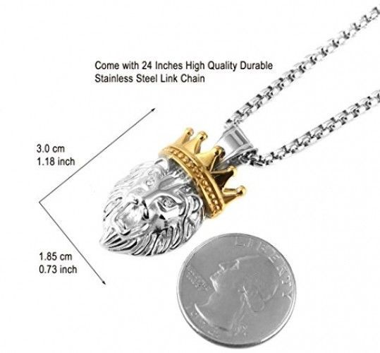 HZMAN Men's Silver Gold Tone Stainless Steel Lion King Pendant Necklace Cable image 4