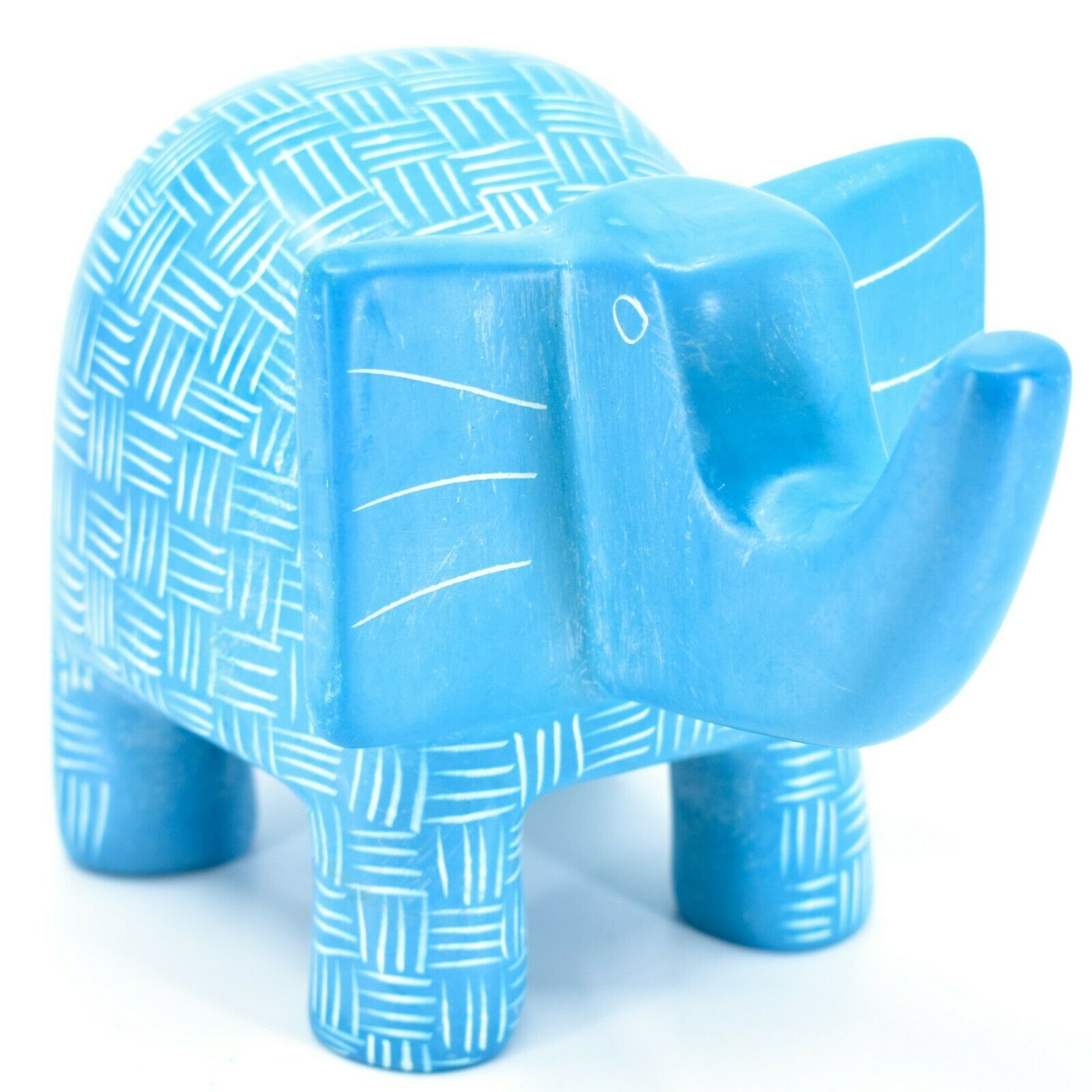 Vaneal Group Hand Crafted Carved Soapstone Large Heavy Blue Elephant Sculpture