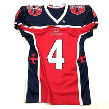 VINTAGE Invaders Football Jersey Youth Size Medium Red Blue Flag Two Han... - $24.70