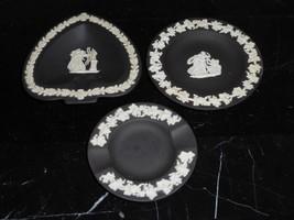 3 Vintage Wedgwood Jasperware Black Pin Dish Trinket Plates - $39.00