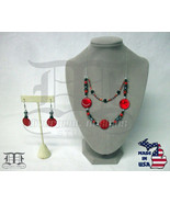 Red Howlite Hematite Shell Beaded Silver Necklace & Earring Set - Made I... - $39.98