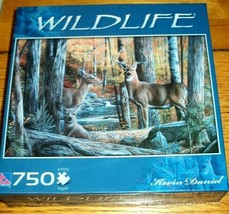 Jigsaw Puzzle 750 Pieces Deer Buck Doe Fawn Kevin Daniel Wildlife Art Co... - $12.86