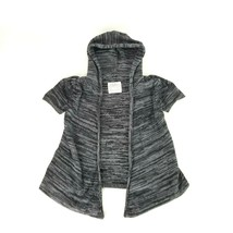 Justice Girls Size 8 Black Gray Short Sleeve Open Front Hoodie Knit Swea... - $10.39