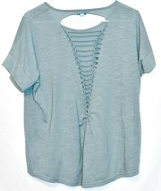 She + Sky Heathered Sea Blue Open Laced Ladder Back T-Shirt Top Size L image 2