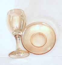 Judaica Kiddush Cup Glass Goblet Saucer Shabbat Clear Gold image 4