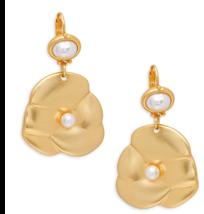 Kenneth Jay Lane 22K polished Gold tone faux pearl flower drop Earrings - $66.83