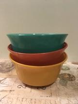 Vintage Milk Glass Bowls Painted Milk Glass Colorful Cereal Soup Bowls  - $12.00