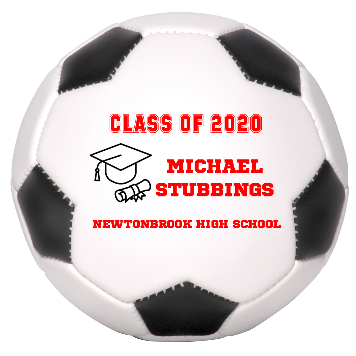 Primary image for Personalized Custom Class of 2020 Graduation Mini Soccer Ball Gift Red Text