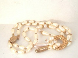 Vintage white creamy bead necklace double strand goldtone cluster tradit... - $12.86