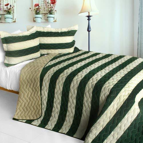 [Wander In The Secret Garden] 3PC Vermicelli-Quilted Patchwork Quilt Set (Full/Q
