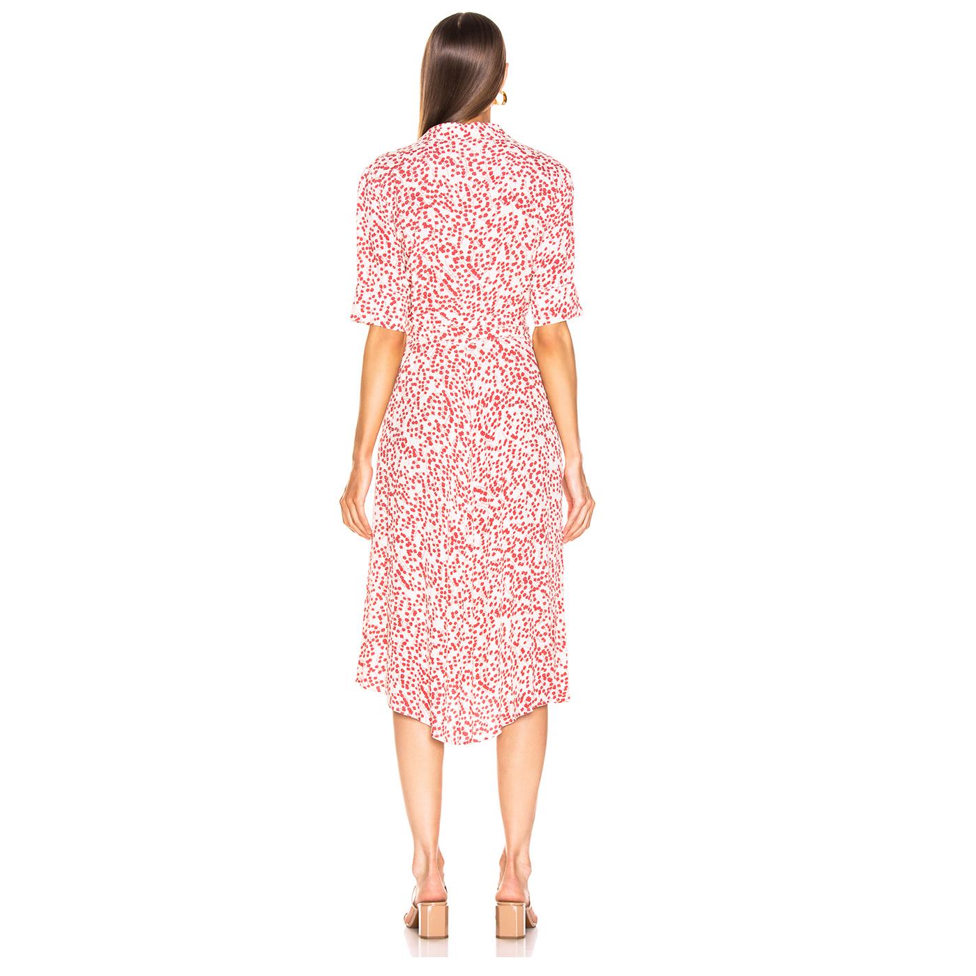 GANNI Floral Printed Wrap Crepe Dress with Tie Closure