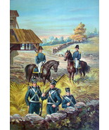 US ARMY 1813-1821 Infantry & General Officers on Horses - COLOR Litho Print - $13.49