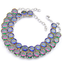 2 Pcs 1 Lot Round Cut Natural Rainbow Fire Topaz Gemstone Silver Charm B... - $70.00
