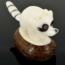 Hand Carved Tagua Nut Carving Raccoon Figurine Made in Ecuador image 4